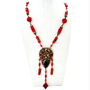 Neiger Bros Czech Red Glass Statement Necklace